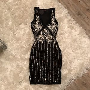 Black iridescent rhinestone pearl embellished